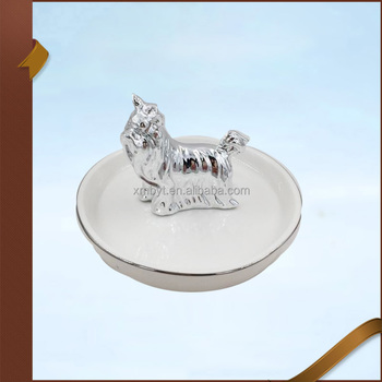 Porcelain Dog Jewelry Holder with White Plate