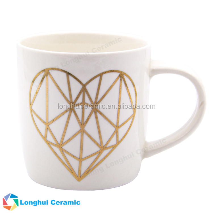 12ounce gold foil heart shape printed white ceramic mug