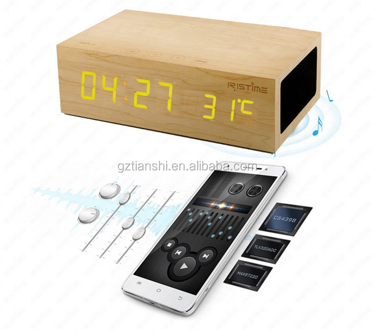 Portable FM Radio TF card Function Bluetooth Speaker With Alarm clock qi wood bluetooth speaker