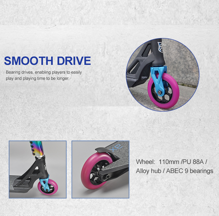 Guangzhou funlake high quality brake 110mm wheel electric extreme sport freestyle kick adult stunt scooter