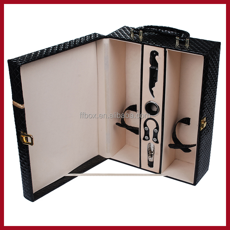 luxury black leather 2 bottle wine box with handle and accessories