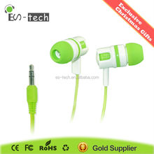Green color earbud 3.5mm pulg earbud from E&S Technology co., Ltd