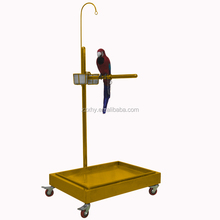 Golden Stainless Steel Parrot Bird Stand With Tray Cups & Toys' Hook