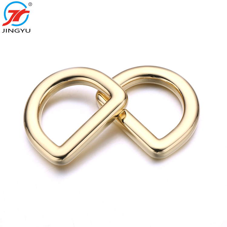 High Quality Existing Mold Fashion Gold Handbag Metal <strong>D</strong> Ring Buckle For Bag Accessories