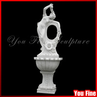 Beautiful Lady Outdoor White Stone Wall Water Fountain