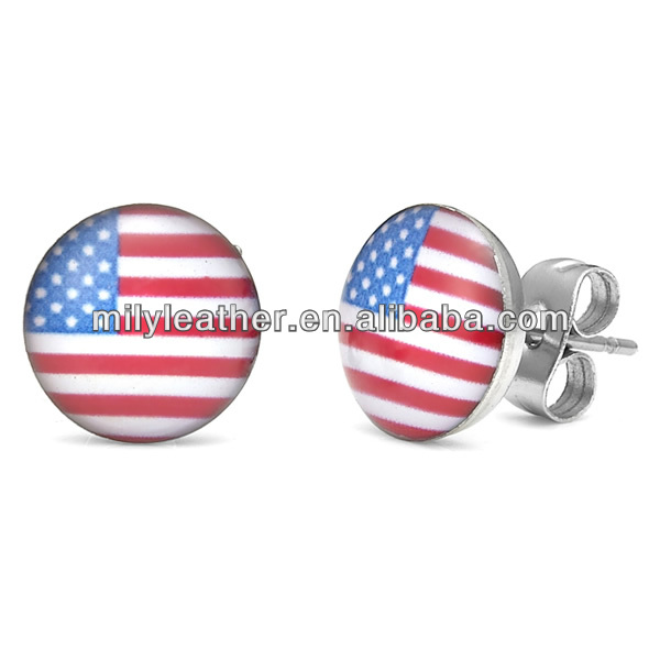 Unique Rockin USA American Flag Patriot Stainless Steel Stud Earrings for Men