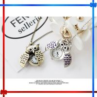 GIFT25 hot selling owl cheap pocket watch necklace