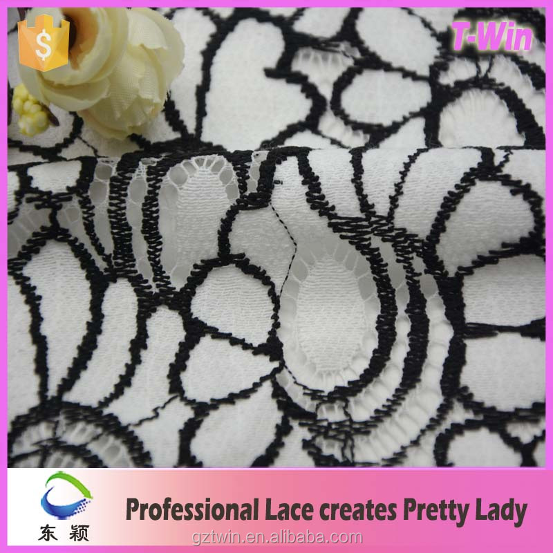 Hot selling double color lace korean lace fabric for garment