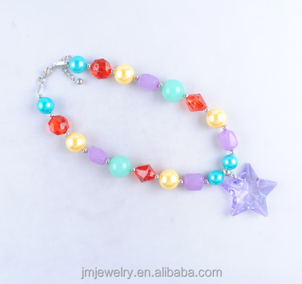 kids wholesale jewelry for gift purple star pendant necklace colorful jelly chunky beads necklace (J.M Fashion)