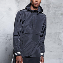 Wind And Water-Resistant Men's Pullover Windbreaker Jacket With Side Zipper