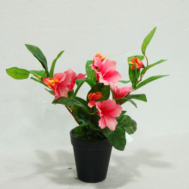 real touch 3 heads pink highly simulation flower potted wedding table decoration artificial flower arrangements in pot