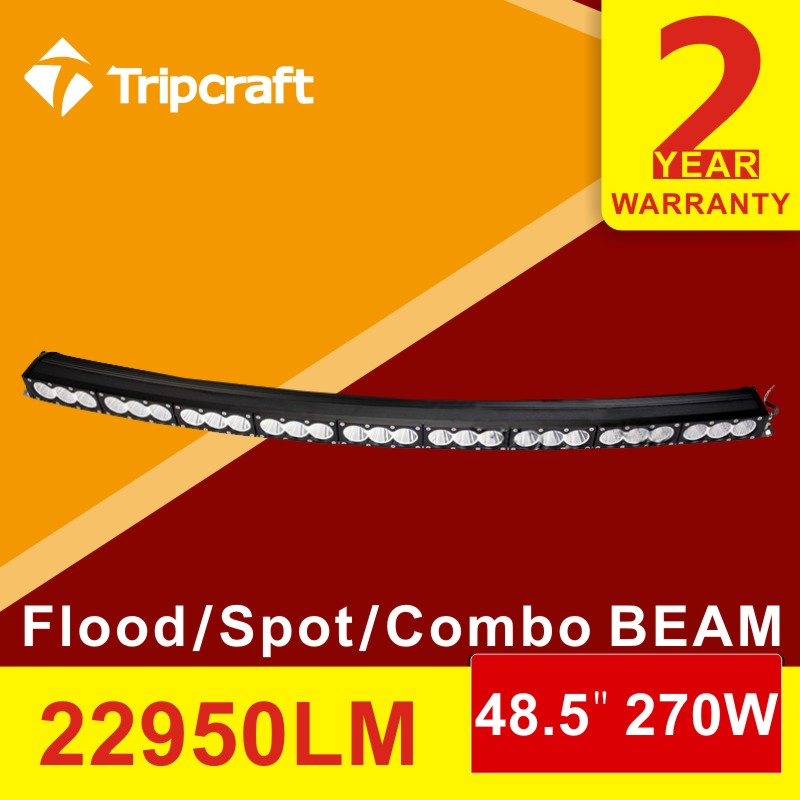 Briliant Guangzhou car accessories 270W 22950LM curved led bright working light, rigid led auto light bar with ip68