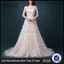 MGOO Customized Made Brand A Line Wedding Dress Pink Petal Flowers Short Sleeves Ball Gown Dress 2058