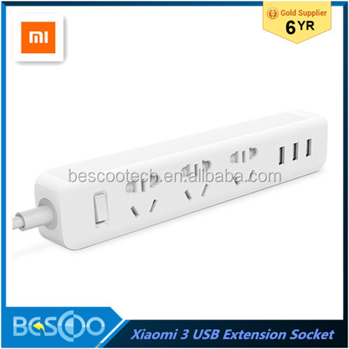 100% New Original Xiaomi Power Strip Outlet Socket 3 USB Extension Socket Plug with Socket material PC 2500W 3 USB