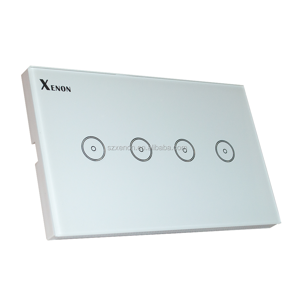 Xenon WiFi smart glass US 4 gang 1 way wall panel switch remote control crystal glass touch panel switch