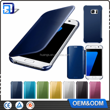 top selling products 2016 luxury smart flip slim clear view electroplating mirror flip cover for Samsung Galaxy S7 hard case