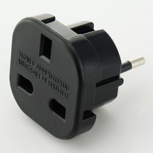 2016 Newly developed UK to EU style EU business plug adapter with black/white appearance