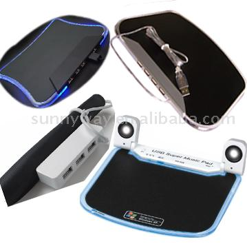 USB Silicone Mouse Pad, USB Hub Mouse Pad with Built-In Speaker, Micro hone and 4-Port USB Hub 1