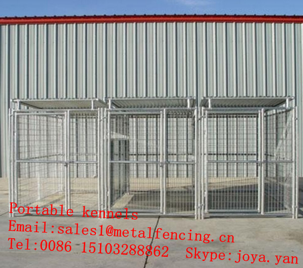Zoo pets cages anti rain dog cages with roofs heavy duty metal panels dog kennels clamps connected portable kennels