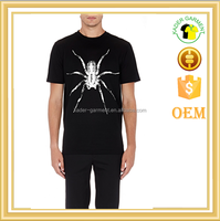 soft cotton black t shirt spider printed t shirt wholesale
