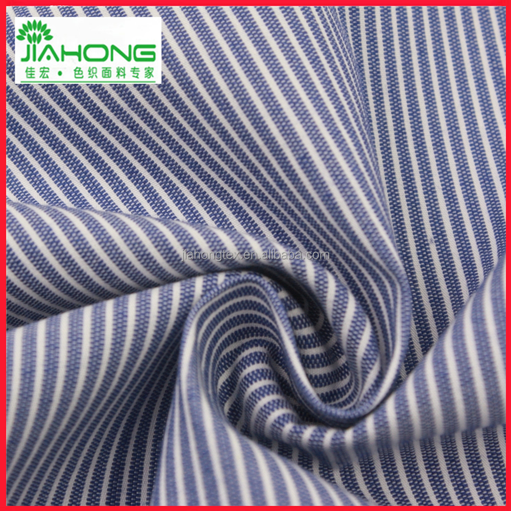 Fabric factory china yarn dyed navy blue white striped cotton nylon fabric for shirt