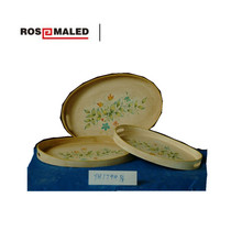 the flower painted oval wooden tray in the home decor.