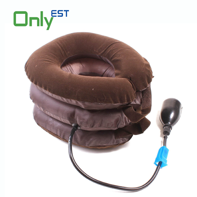China Manufacturer Comfortable Portable Full Flannel Medical Inflatable Neck Brace Spine Traction Air Cervical Traction