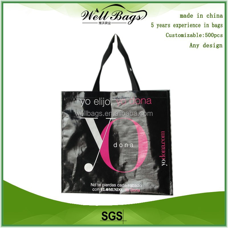 custom Polypropylene PP Woven Laminated duty free shop Reusable tote Bag with zipper
