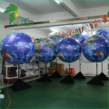 New Design Attractive Advertising Inflatable Stand Earth Balloon, Tripod Globe Ball For Sale