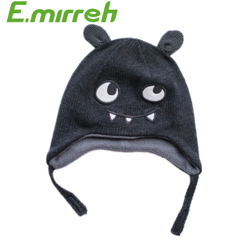 2016 newest winter wool beanie hat kids baby small monster knitted earflap hat