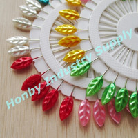 Free Shipping By TNT or DHL 720Wheels/Lot 55mm Colored Leaf Head Design 55mm Pearl Head Pin
