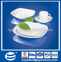 30pcs super white Luxury ceramic dinnerware set square white porcelain, undecorated white porcelain square
