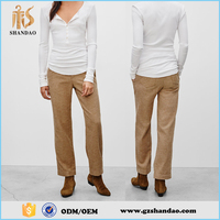 Summer New Fashion Women Casual Long Pure Color Simple Design Cotton Chino Pants