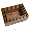 four modern wooden storage boxes