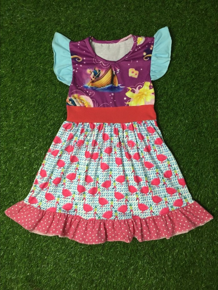 Fashion cute ruffle raglan sleeve dress cotton online boutique remakes little girls floral printed kids clothes wholesale price