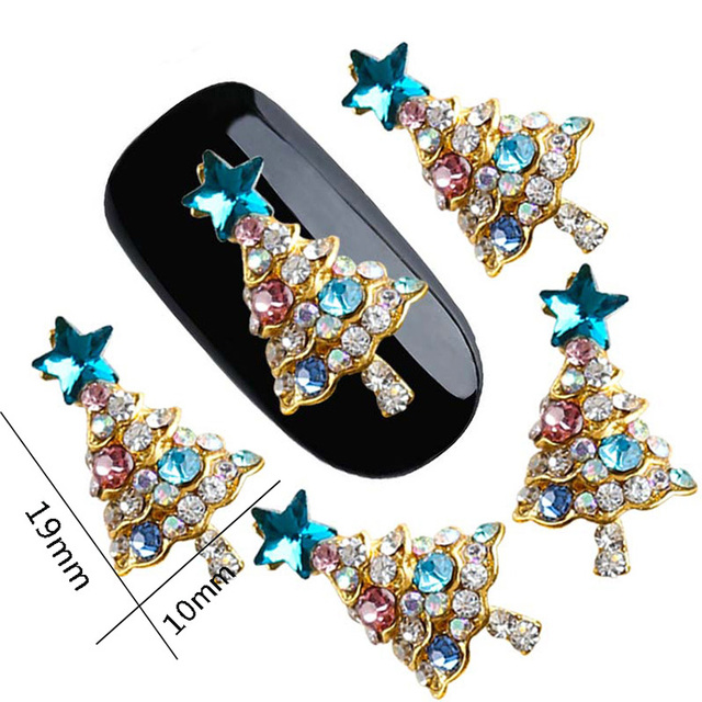 2017 Popular all kinds of nail art decoration, 3D christmas tree nail designs with shining rhinestones for nail art decoration