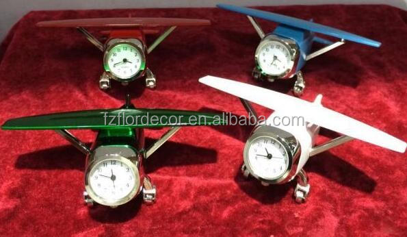 novelty metal airplane table clock mini plane decorative table analogue clock CO0715