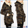 Modern style fashion camo jacket woman wool trench coat with hood