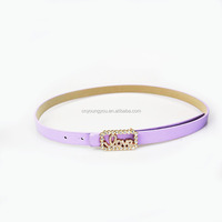 Summer Fashion Purple pu dress belt for wholesale with pretty buckles in Yiwu