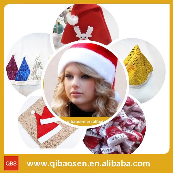 2016 Unique hot sale product handmade wholesale China decor blue craft ornament wool felt santa clause Christmas hats with light