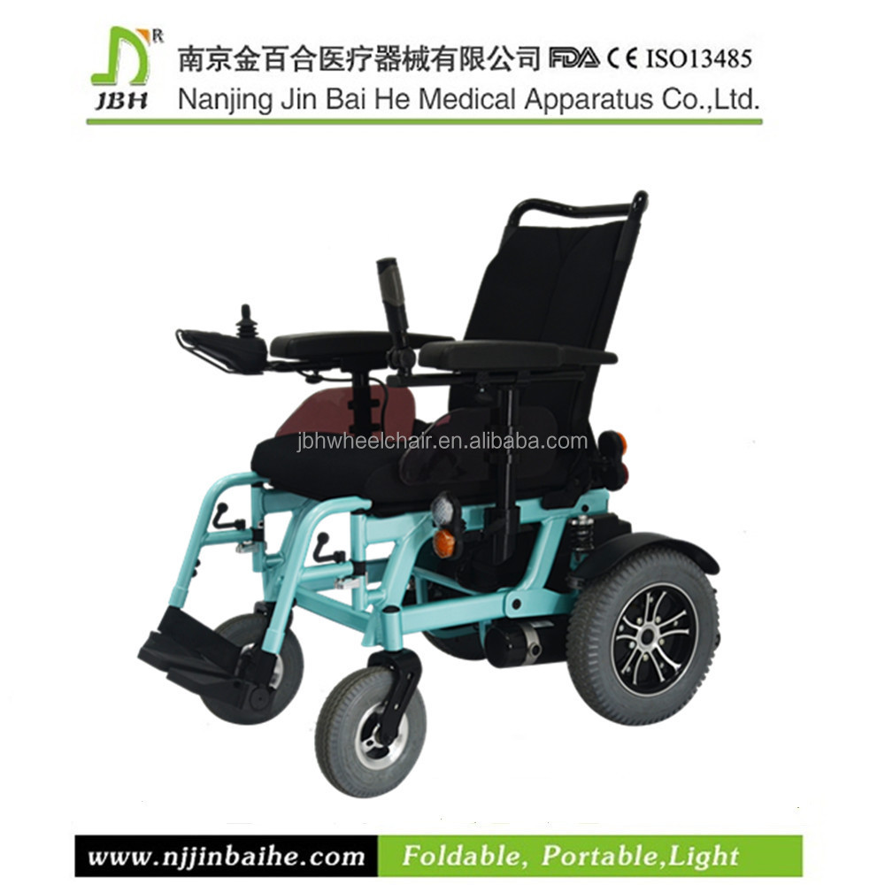 "Folding lightweight power wheelchair with 8"" wheelchair front wheel and fork,steel bearing and solid tire"