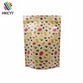 Full color printed stand up kraft paper pouch bag with top ziplock / kraft paper food pouch packaging bag