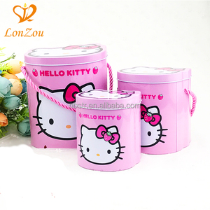 Metal tin can box portable pink custom round candy popcorn tin cans for canning