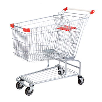 Bananas in shopping trolley 6 wheeled wheel