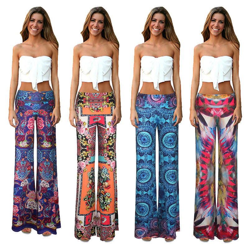 Women's Chevron Aztec Tribal Pattern Printed Long Palazzo Pants