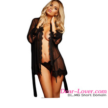 Mature Women Cheap Black Lace Trim Robe Sexy See Through Transparent Lingerie