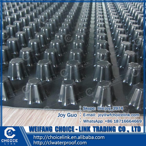 8mm high plastic HDPE dimple drainage sheet