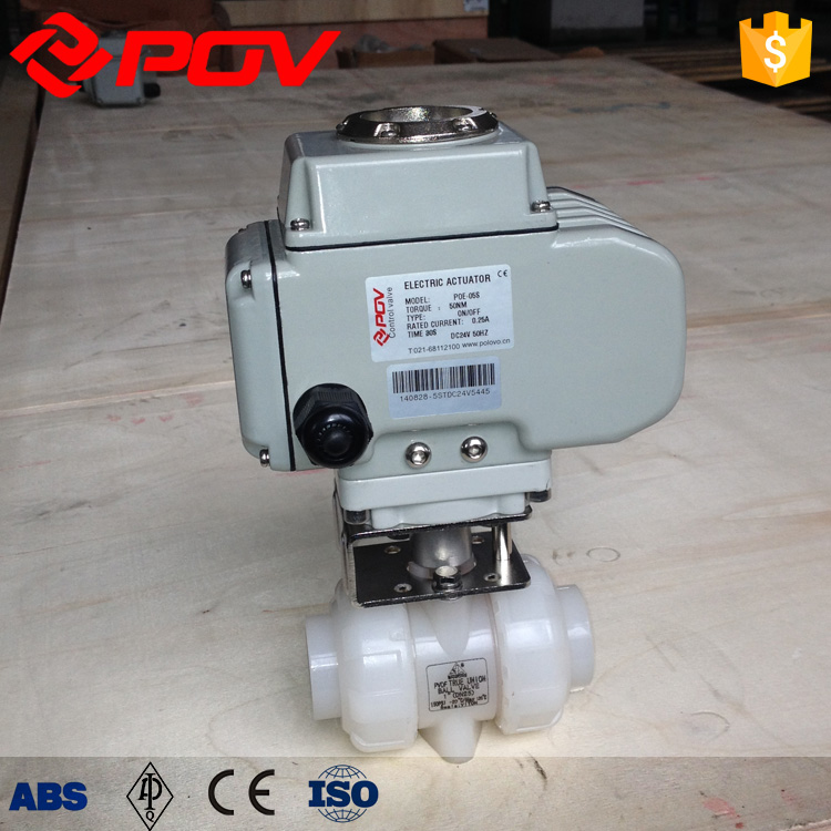 pvdf double union connection electric ball valve