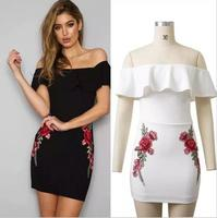 FY 2017 Latest Western Design Embroidered Flower Off Shoulder Ruffles Women Bodycon Dresses For Ladies Club Sexy Dress 1745