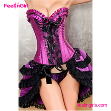 China Wholesale Purple Overbust Boned Bustier Adult Open Hot Sexy Corset